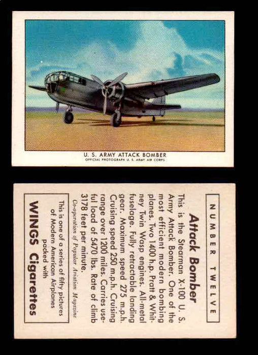 1940 Modern American Airplanes Series 1 Vintage Trading Cards Pick Singles #1-50 12 U.S. Army Attack Bomber (Stearman X-100)  - TvMovieCards.com