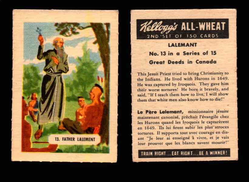 1946 Kelloggs All-Wheat Series 2 Great Deeds in Canada Vintage Card #1-15 Singles #13 Lalemant  - TvMovieCards.com