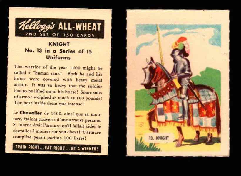 1946 Kelloggs All-Wheat Series 2 Uniforms Vintage Trading Cards #1-15 Singles #13 Knight  - TvMovieCards.com