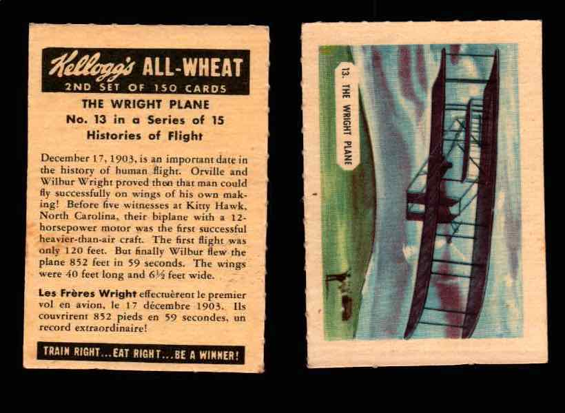 1946 Kelloggs All-Wheat Series 2 Histories of Flight Vintage Card #1-15 Singles #13 The Wright Plane  - TvMovieCards.com