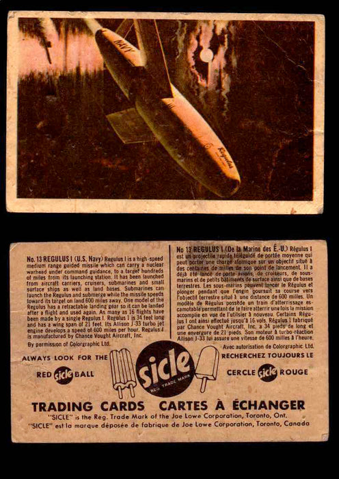 1959 Sicle Aircraft & Missile Canadian Vintage Trading Card U Pick Singles #1-25 #13 Regulus I  - TvMovieCards.com