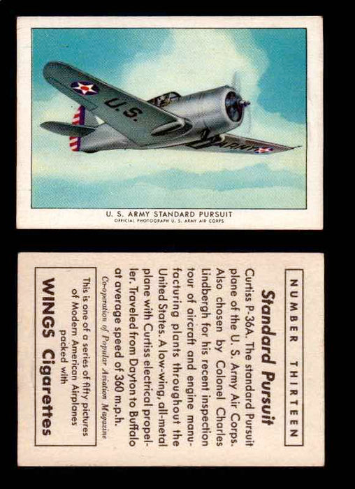 1940 Modern American Airplanes Series 1 Vintage Trading Cards Pick Singles #1-50 13 U.S. Army Standard Pursuit (Curtiss P-36A)  - TvMovieCards.com