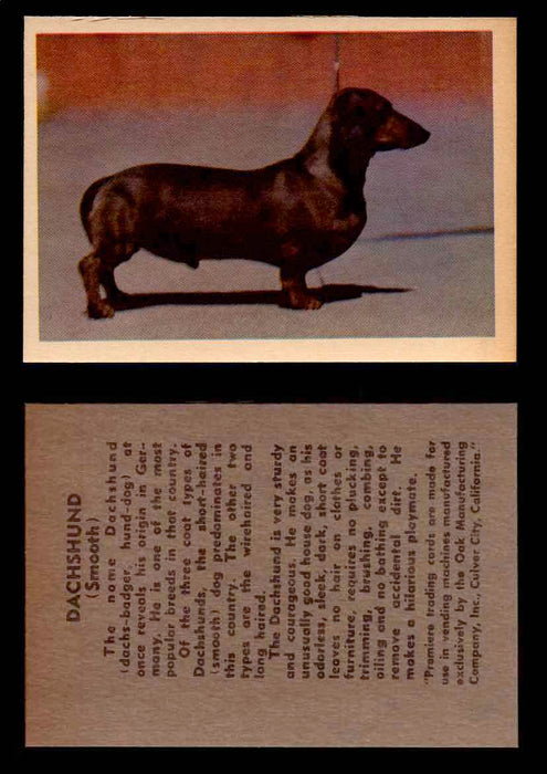 1957 Dogs Premiere Oak Man. R-724-4 Vintage Trading Cards You Pick Singles #1-42 #13 Dachshund  - TvMovieCards.com