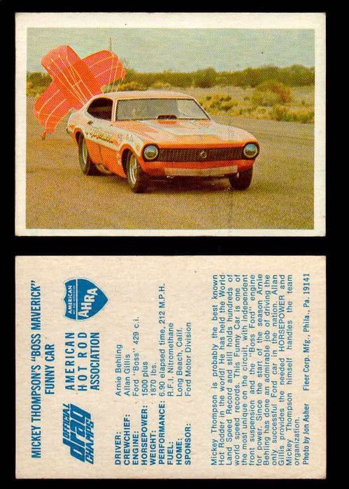 "AHRA Official Drag Champs 1971 Fleer Vintage Trading Cards You Pick Singles 14   Mickey Thompson's ""Boss Maverick""                Funny Car  - TvMovieCards.com"