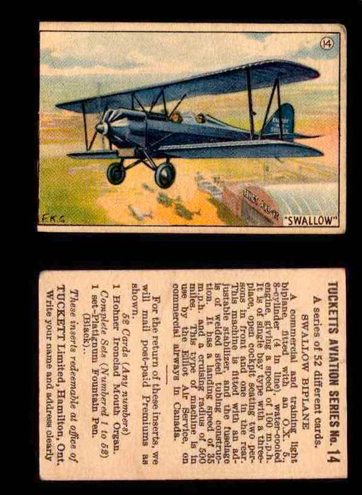 1929 Tucketts Aviation Series 1 Vintage Trading Cards You Pick Singles #1-52 #14 Swallow Biplane  - TvMovieCards.com