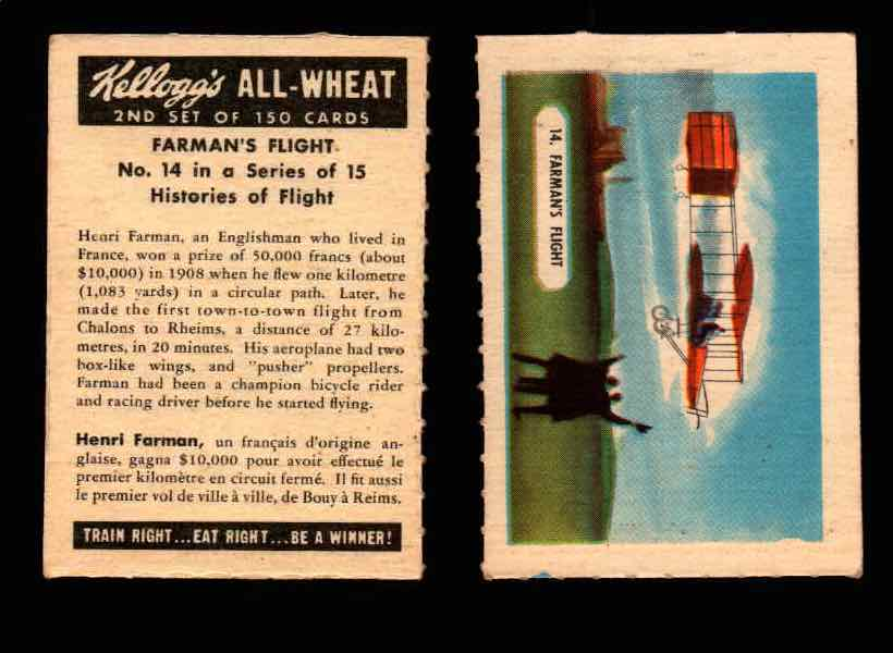 1946 Kelloggs All-Wheat Series 2 Histories of Flight Vintage Card #1-15 Singles #14 Farman's Flight  - TvMovieCards.com