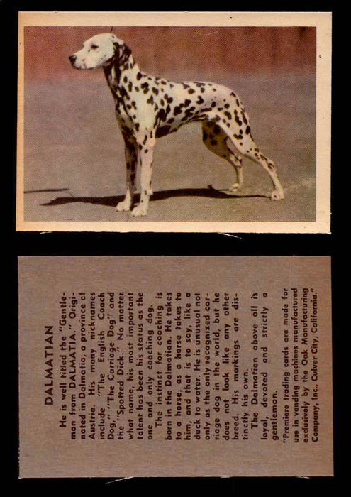 1957 Dogs Premiere Oak Man. R-724-4 Vintage Trading Cards You Pick Singles #1-42 #14 Dalmatian  - TvMovieCards.com