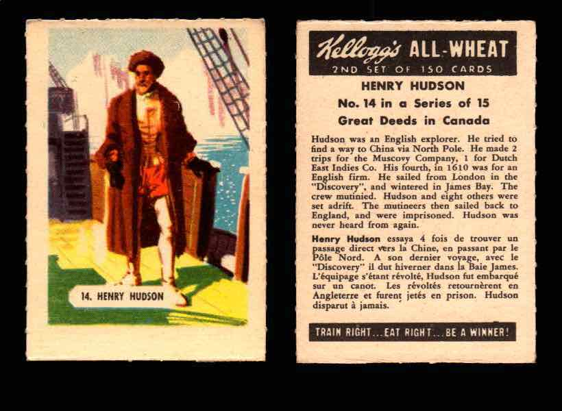 1946 Kelloggs All-Wheat Series 2 Great Deeds in Canada Vintage Card #1-15 Singles #14 Henry Hudson  - TvMovieCards.com