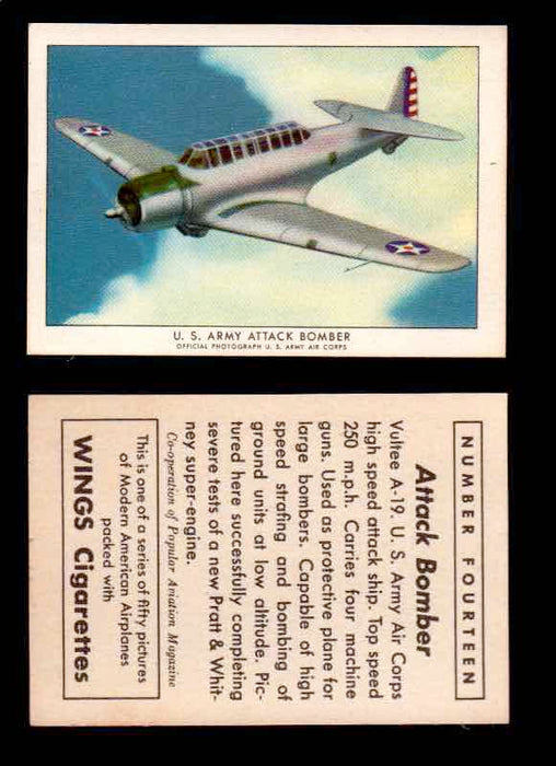 1940 Modern American Airplanes Series 1 Vintage Trading Cards Pick Singles #1-50 14 U.S. Army Attack Bomber (Vultee A-19)  - TvMovieCards.com