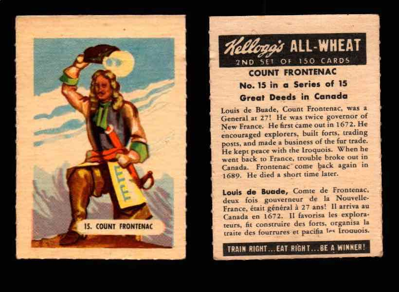 1946 Kelloggs All-Wheat Series 2 Great Deeds in Canada Vintage Card #1-15 Singles #15 Count Frontenac  - TvMovieCards.com