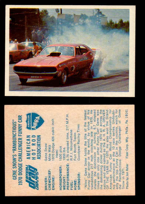 "AHRA Official Drag Champs 1971 Fleer Vintage Trading Cards You Pick Singles 15   Gene Snow's ""Rambunctious""                       1970 Dodge Challenger Funny Car  - TvMovieCards.com"
