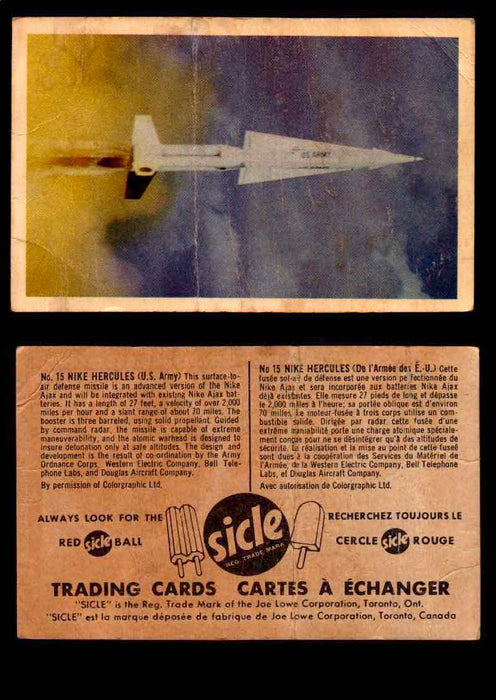 1959 Sicle Aircraft & Missile Canadian Vintage Trading Card U Pick Singles #1-25 #15 Nike Hercules  - TvMovieCards.com