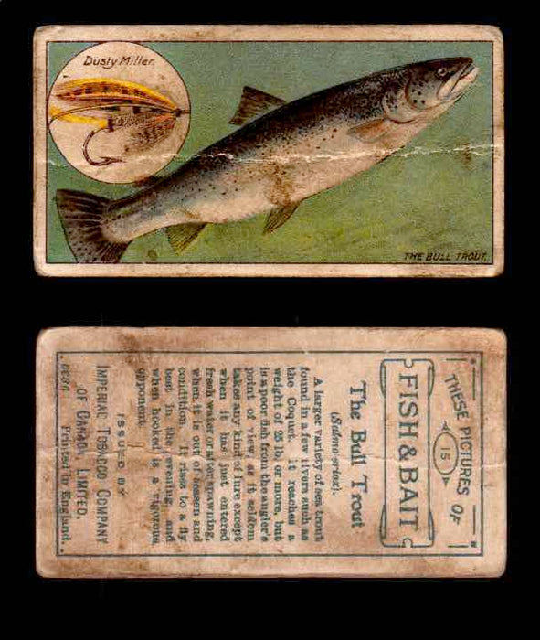 1910 Fish and Bait Imperial Tobacco Vintage Trading Cards You Pick Singles #1-50 #15 The Bull Trout  - TvMovieCards.com
