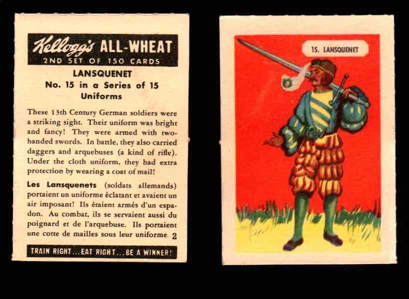 1946 Kelloggs All-Wheat Series 2 Uniforms Vintage Trading Cards #1-15 Singles #15 Lansquenet  - TvMovieCards.com