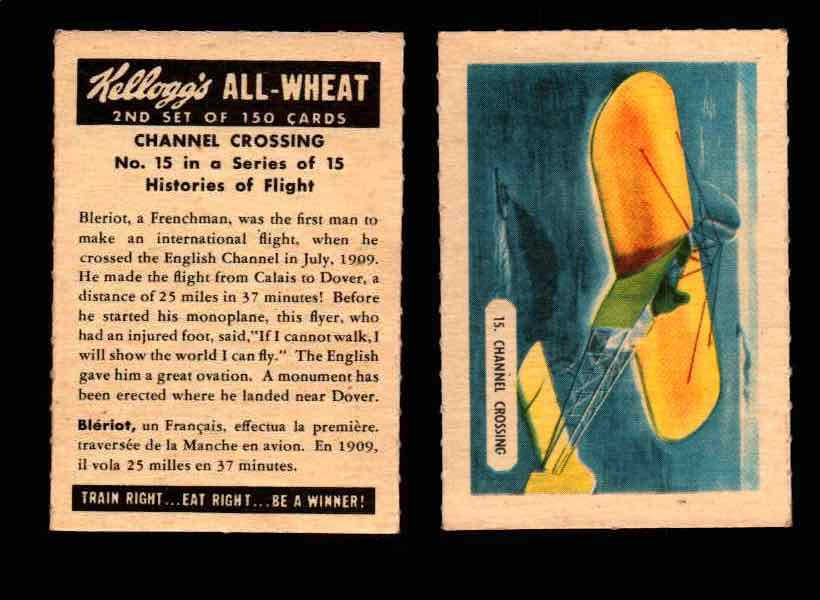 1946 Kelloggs All-Wheat Series 2 Histories of Flight Vintage Card #1-15 Singles #15 Channel Crossing  - TvMovieCards.com