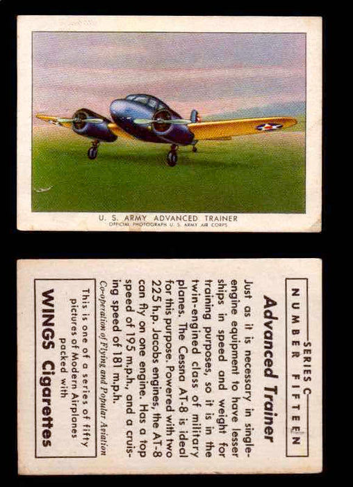 1942 Modern American Airplanes Series C Vintage Trading Cards Pick Singles #1-50 15	 	U.S. Army Advanced Trainer  - TvMovieCards.com