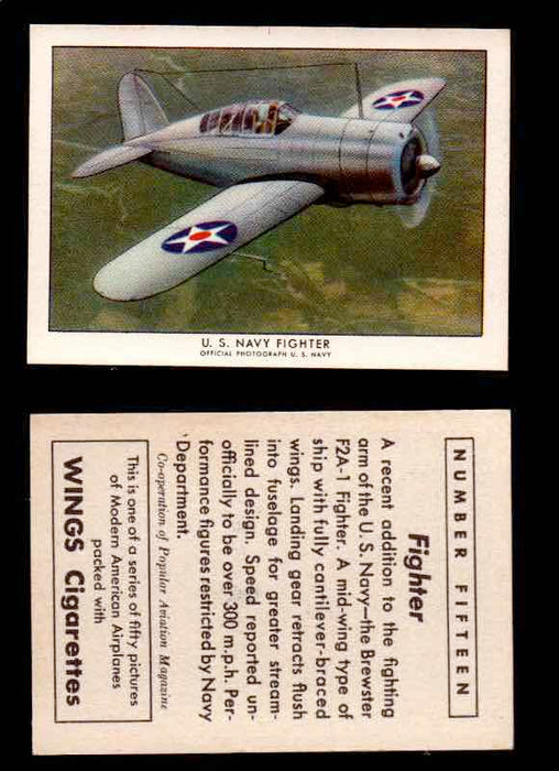 1940 Modern American Airplanes Series 1 Vintage Trading Cards Pick Singles #1-50 15 U.S. Navy Fighter (Brewster F2A-1)  - TvMovieCards.com