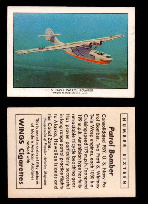 1940 Modern American Airplanes Series 1 Vintage Trading Cards Pick Singles #1-50 16 U.S. Navy Patrol Bomber (Consolidated PBY)  - TvMovieCards.com