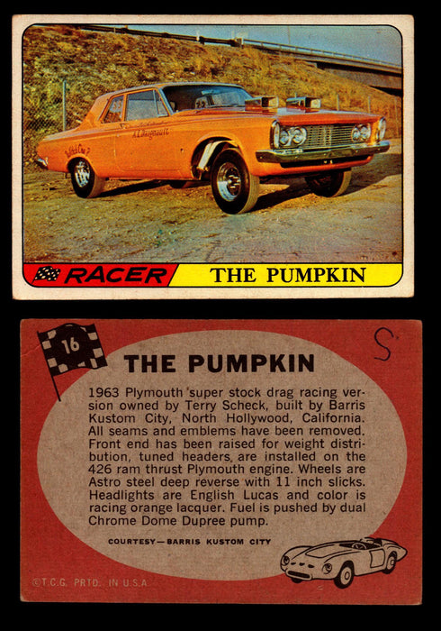Hot Rods Topps 1968 George Barris Vintage Trading Cards You Pick Singles #16 The Pumpkin  - TvMovieCards.com