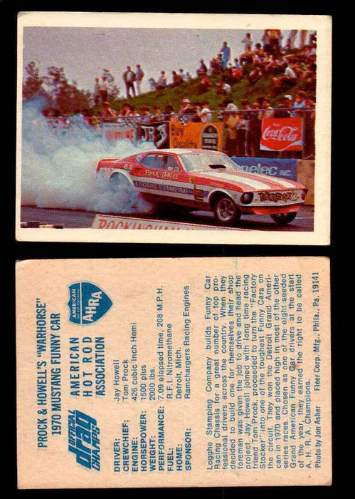 "AHRA Official Drag Champs 1971 Fleer Vintage Trading Cards You Pick Singles 16   Jay Howell's ""Warhorse""                          1970 Mustang Funny Car  - TvMovieCards.com"