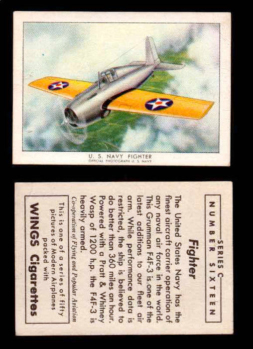 1942 Modern American Airplanes Series C Vintage Trading Cards Pick Singles #1-50 16	 	U.S. Navy fighter  - TvMovieCards.com