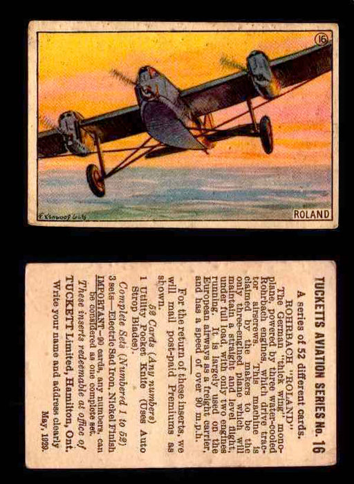 "1929 Tucketts Aviation Series 1 Vintage Trading Cards You Pick Singles #1-52 #16 Rohrbach ""Roland""  - TvMovieCards.com"