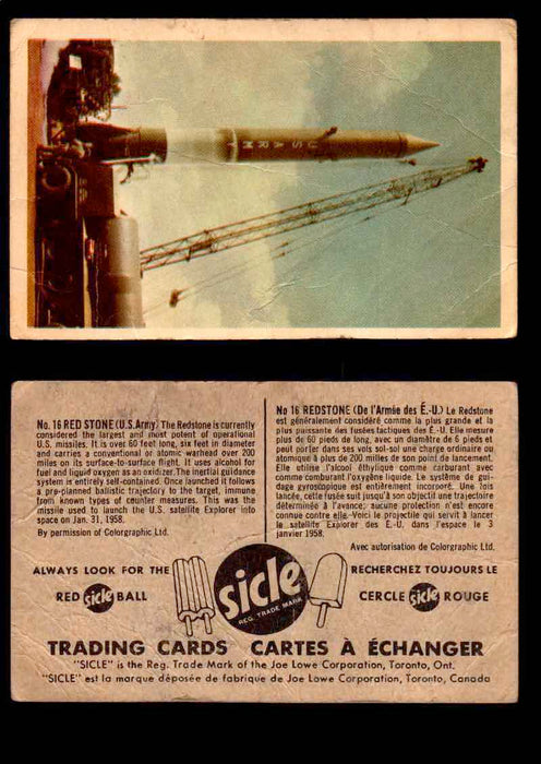1959 Sicle Aircraft & Missile Canadian Vintage Trading Card U Pick Singles #1-25 #16 Red Stone  - TvMovieCards.com