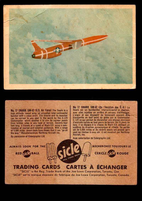 1959 Sicle Aircraft & Missile Canadian Vintage Trading Card U Pick Singles #1-25 #17 Shark SM-62  - TvMovieCards.com