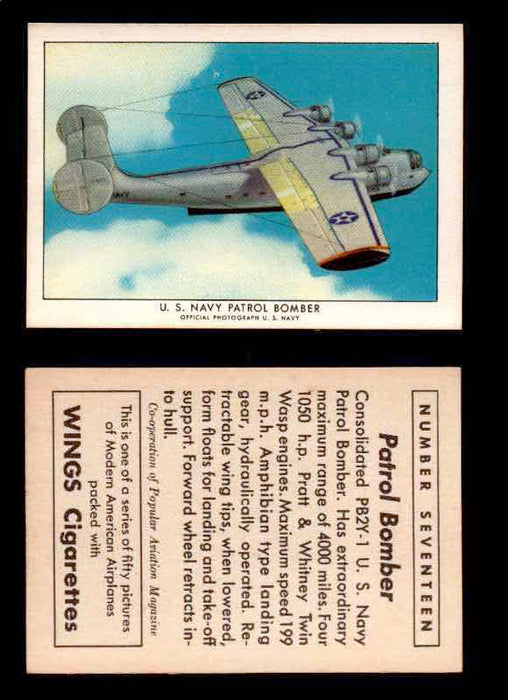1940 Modern American Airplanes Series 1 Vintage Trading Cards Pick Singles #1-50 17 U.S. Navy Patrol Bomber (Consolidated PB2Y-1)  - TvMovieCards.com