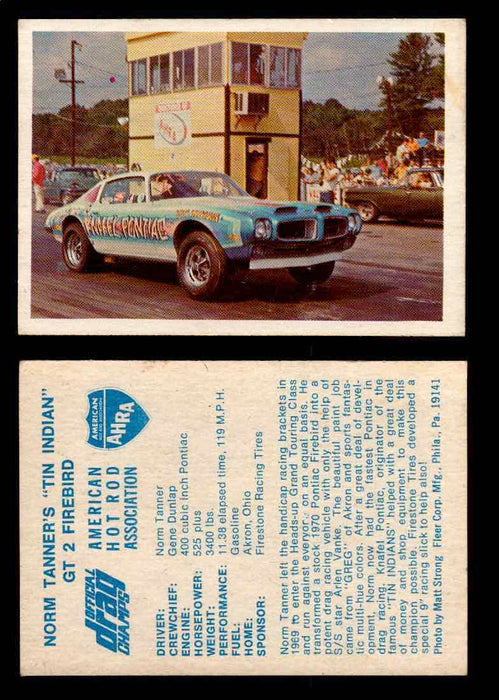 "AHRA Official Drag Champs 1971 Fleer Vintage Trading Cards You Pick Singles 17   Norm Tanner's ""Tin Indian""                       GT-2 Firebird  - TvMovieCards.com"