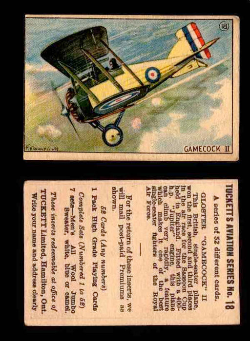 1929 Tucketts Aviation Series 1 Vintage Trading Cards You Pick Singles #1-52 #18 Gloster Gamecock II  - TvMovieCards.com