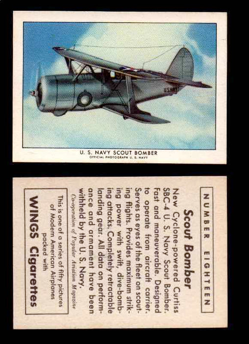 1940 Modern American Airplanes Series 1 Vintage Trading Cards Pick Singles #1-50 18 U.S. Navy Scout Bomber (Curtiss SBC-4)  - TvMovieCards.com