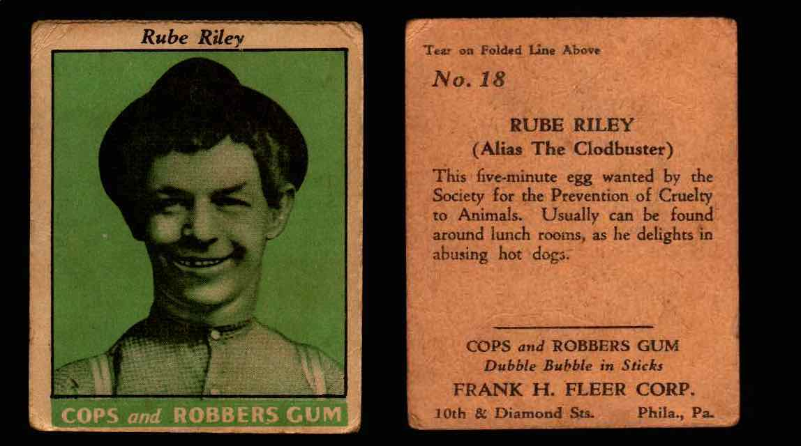 1935 Fleer Cops and Robbers Gum Vintage Trading Card #1-35 Singles #18 Rube Riley  - TvMovieCards.com