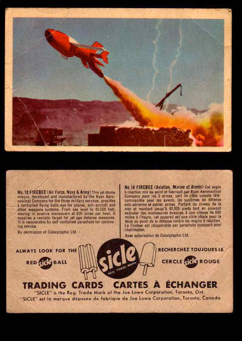 1959 Sicle Aircraft & Missile Canadian Vintage Trading Card U Pick Singles #1-25 #18 Firebee  - TvMovieCards.com