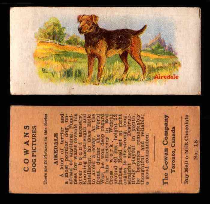 1929 V13 Cowans Dog Pictures Vintage Trading Cards You Pick Singles #1-24 #18 Airedale  - TvMovieCards.com