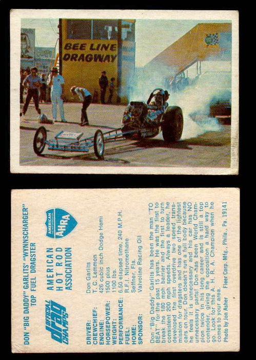 "AHRA Official Drag Champs 1971 Fleer Vintage Trading Cards You Pick Singles 18   Don ""Big Daddy"" Garlits' ""Wynnscharger""          Top Fuel Dragster  - TvMovieCards.com"