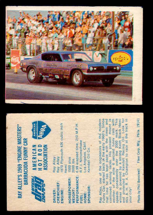 "AHRA Official Drag Champs 1971 Fleer Vintage Trading Cards You Pick Singles 19   Ray Alley's 1969 ""Engine Masters""                Barracuda Funny Car  - TvMovieCards.com"
