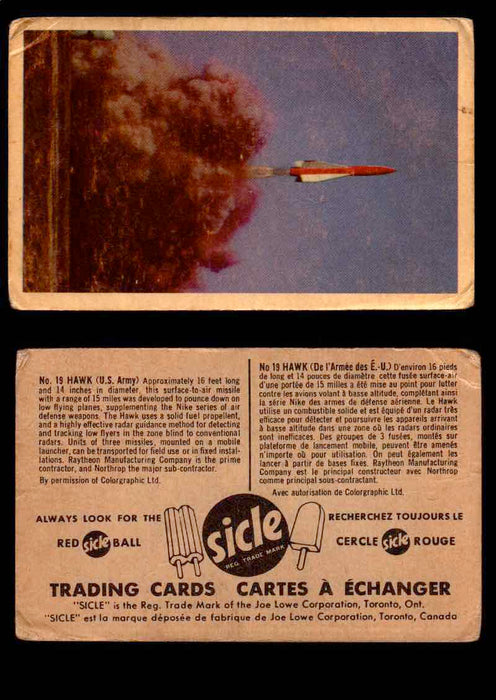 1959 Sicle Aircraft & Missile Canadian Vintage Trading Card U Pick Singles #1-25 #19 Hawk  - TvMovieCards.com