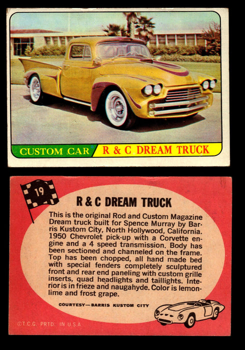 Hot Rods Topps 1968 George Barris Vintage Trading Cards You Pick Singles #19 R&C Dream Truck  - TvMovieCards.com