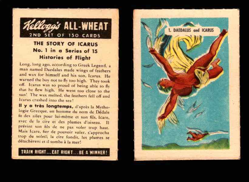 1946 Kelloggs All-Wheat Series 2 Histories of Flight Vintage Card #1-15 Singles #1 The Story of Icarus  - TvMovieCards.com