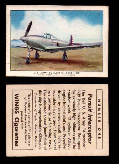 "1940 Modern American Airplanes Series 1 Vintage Trading Cards Pick Singles #1-50 1 U.S. Army Pursuit Interceptor (Bell P-39 ""Airacobra"")  - TvMovieCards.com"