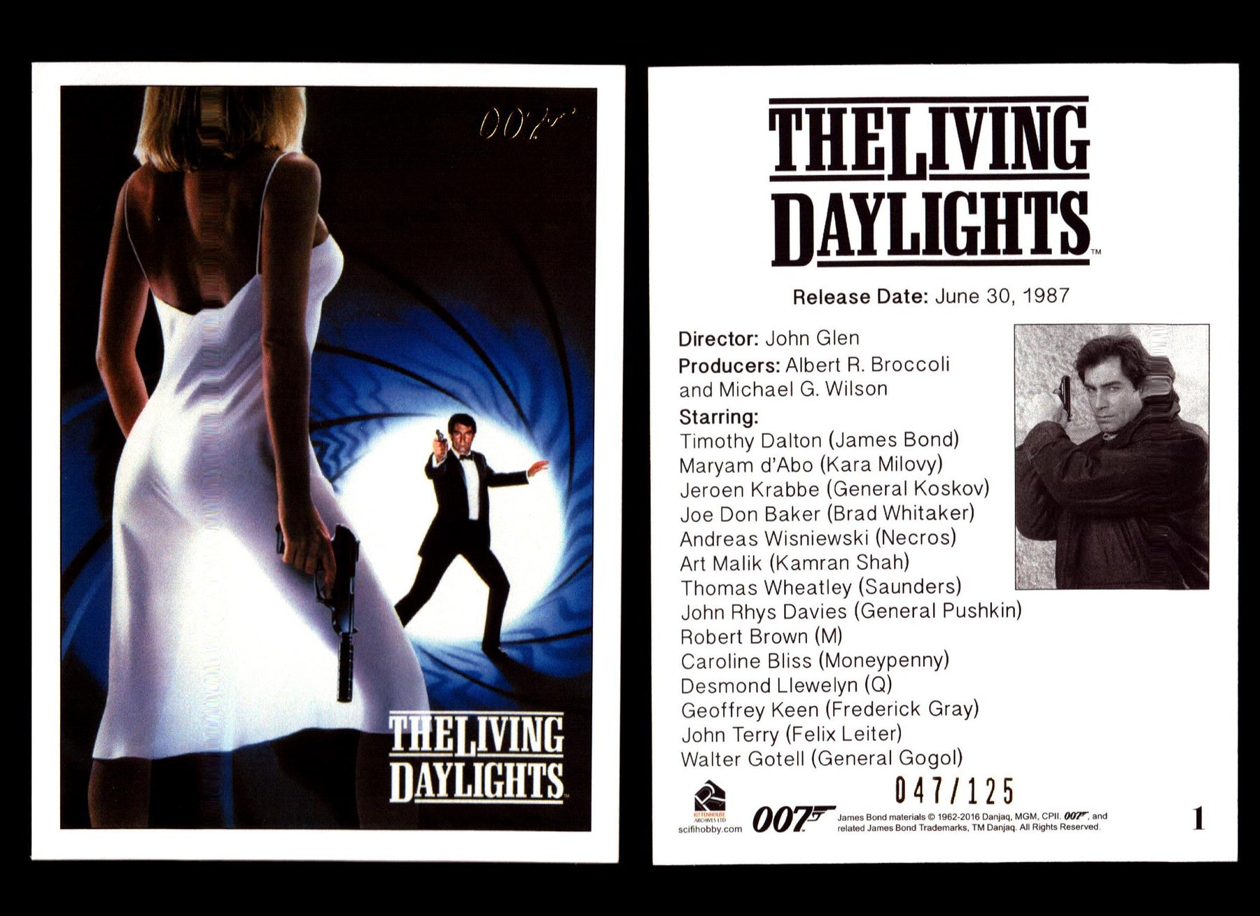 James Bond Archives The Living Daylights Gold Parallel Card You Pick