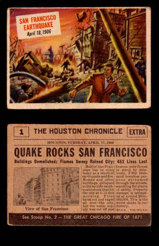 1954 Scoop Newspaper Series 1 Topps Vintage Trading Cards You Pick Singles #1-78 1   San Francisco Earthquake  - TvMovieCards.com