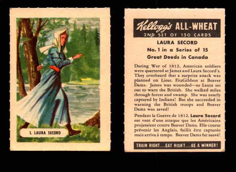 1946 Kelloggs All-Wheat Series 2 Great Deeds in Canada Vintage Card #1-15 Singles #1 Laura Secord  - TvMovieCards.com