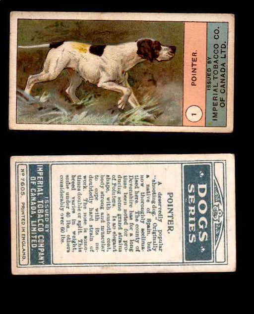 1924 Dogs Series Imperial Tobacco Vintage Trading Cards U Pick Singles #1-24 #1 Pointer  - TvMovieCards.com