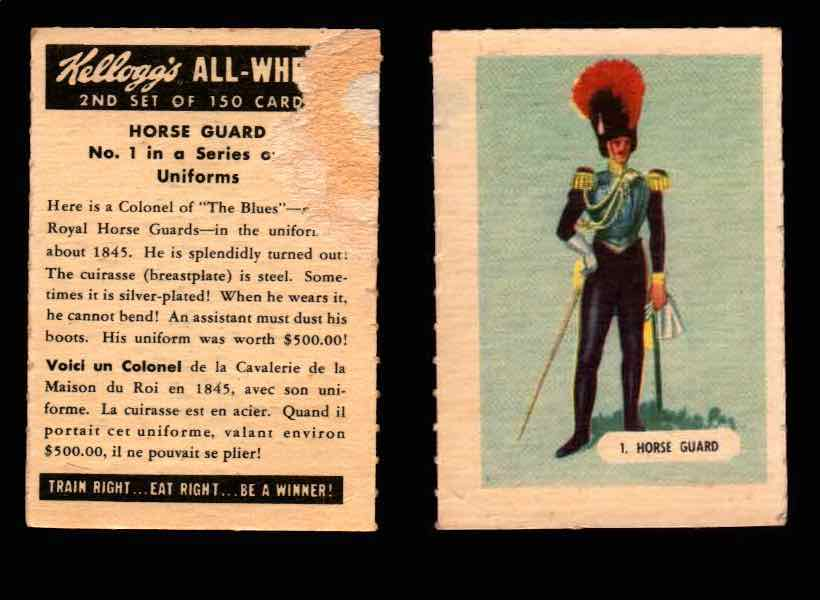 1946 Kelloggs All-Wheat Series 2 Uniforms Vintage Trading Cards #1-15 Singles #1 Horse Guard  - TvMovieCards.com