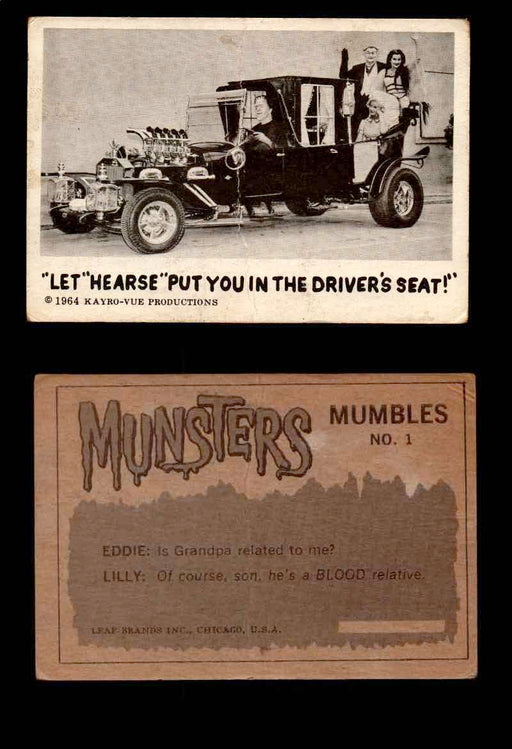 1964 Munsters Leaf Canadian Grey Back Vintage Trading Cards U Pick Singles #1-72 #1  - TvMovieCards.com