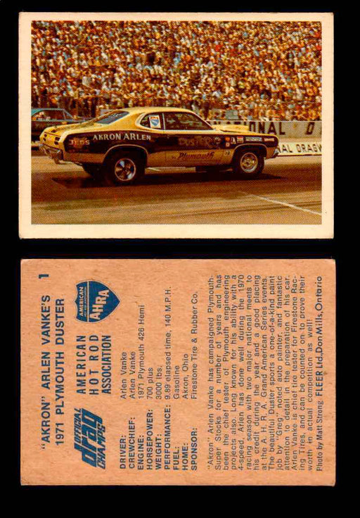"AHRA Official Drag Champs 1971 Fleer Canada Trading Cards You Pick Singles #1-63 1   ""Akron"" Arlen Vanke's                            1971 Plymouth Duster  - TvMovieCards.com"
