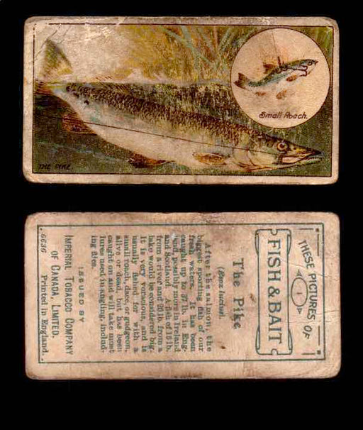 1910 Fish and Bait Imperial Tobacco Vintage Trading Cards You Pick Singles #1-50 #1 The Pike  - TvMovieCards.com