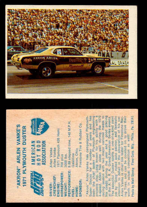 "AHRA Official Drag Champs 1971 Fleer Vintage Trading Cards You Pick Singles 1   ""Akron"" Arlen Vanke's                            1971 Plymouth Duster  - TvMovieCards.com"